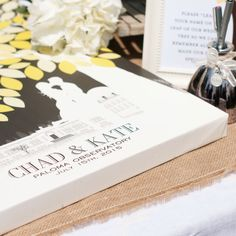 Custom Wedding Guestbook // unique Guestbook idea, Personalized Skyline & Silhouette // Wedding Art // 100+ Signature Guestbook // W-T05-1PS