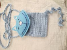 Crochet Kitty-cat kids purse / bag