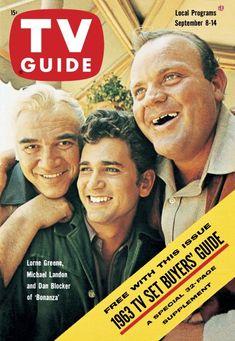 "TV Guide, September 8, 1962 - Lorne Greene, Michael Landon, and Dan Blocker of ""Bonanza"""