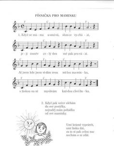 Písnička pro maminku Kids Songs, Holidays And Events, Preschool Activities, Sheet Music, Kindergarten, Classroom, Ukulele, Spring, Pictures
