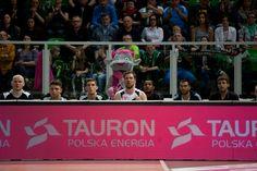 Tauron schowany za ławką zawodników, fot. Sebastian Rzepiel