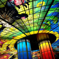 """The world's largest glass public art masterpiece """"Dome of Light"""" in Formosa Boulevard station, Kaohsiung, Taiwan.    This is definitely the most beautiful station I have ever been.     . Incredible places around the world!"""