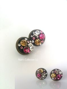 Antique Bronze Silver Plated Round Studs Earrings Coloured Cocktail Cluster Crystals Crystal Clay Black Pink Yellow Diamante Rhinestone by NiahsCollection on Etsy