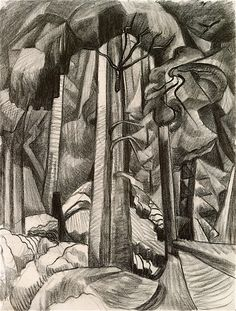 Untitled (charcoal on paper) Emily Carr Landscape Tattoo, Landscape Drawings, Landscape Illustration, Abstract Landscape, Abstract Trees, Landscapes, Canadian Painters, Canadian Artists, Emily Carr Paintings