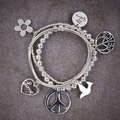 Peace Trio of Bracelets 925 Silver