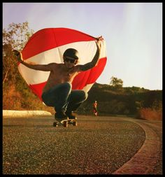 #skateboarding with sail