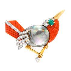 Cartier bird brooch with multi-gem and diamond , circa 1955
