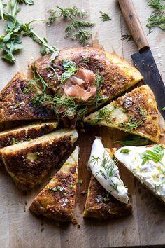 Spanish Tortilla with Burrata and Herbs   halfbakedharvest.com #brunch #potatoes #eggs