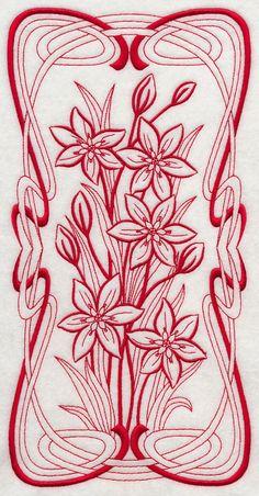 Art Nouveau Star of Bethlehem (Redwork)