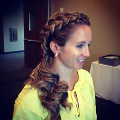dutch braided crown. .  and soft curled side pony love. .  how healthy the hair looks. .