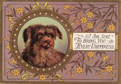 Use vintage postcards as frames for family photos. Example: replace dog with photo.