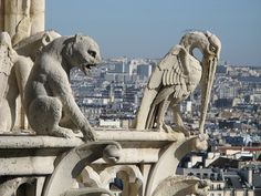 Notre Dame Cathedral Gargoyles The view of Paris from the bell towers is epic--we could see the Tour Eiffel from here