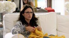 "Julia Louis-Dreyfus knits a garter stitch blankie in ""Enough Said"" http://sheepandstitch.com/knitting-in-movies-enough-said/"