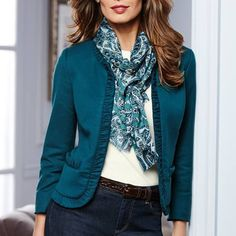 Talbots 601.856.3435 We are fans of our casual jacket and jean look with the Italian Flannel Ruched Jacket and Graphic Paisley Scarf.