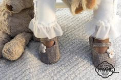 Girls Mary Jane Shoes - Tweed with Flower. Non-slip, suede soles and trendy fabric uppers, easy Velcro fastening.