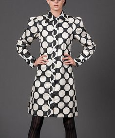 Look what I found on #zulily! Black & White Polka Dot Shirt Jacket by Nuvula #zulilyfinds