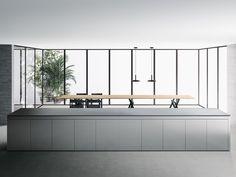 Hideaway stainless steel kitchen with island K6+6 by Boffi Kitchen Furniture, Kitchen Interior, Cubes, Island Design, Italian Furniture, Stainless Steel Kitchen, Minimalist Kitchen, Visual Comfort, House Rooms
