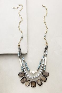 I like the smoke, grey, green/blue colour combo along with the combo of rustic cut of quartz with smooth beads.  Necklace #anthropologie