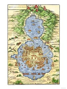 Tenochtitlan, Capital City of Aztec Mexico, an Island Connected by Causeways to Land, c.1520 Giclee Print at AllPosters.com