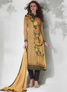 Classy Cream Embroidery Work Viscose Printed Pakistani Suit
