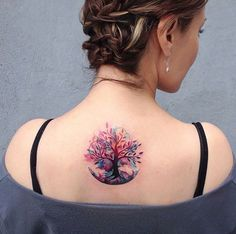 Tree Watercolor Tattoo - MyBodiArt.com