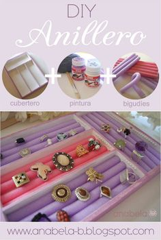 DIY jewelry holder by Annabela. Instructions are in Spanish. - DIY jewelry holder by Annabela. Instructions are in Spanish. I think I can do it … Annabela DIY j - Diy Jewelry Holder, Diy Jewelry Making, Jewellery Storage, Jewellery Display, Jewellery Box, Kids Jewelry Box, Jewelry Case, Gold Jewelry, Cameo Jewelry