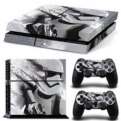 PS4 Playstation 4 Console Decal Vinyl Autocollant Skin Sticker Star Wars Stormtrooper Battlefront + 2 Autocollant Manette Set
