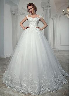 Charming Tulle Sheer Jewel Neckline Ball Gown Wedding Dress With Beaded Lace Appliques