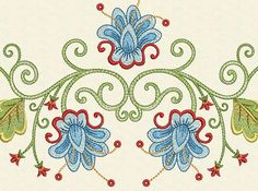 INSTANT DOWNLOAD Blue Flower Machine Embroidery by EmbroideryLand, $10.90