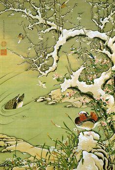 伊藤若冲 雪中遊禽図 1756年~1757年頃