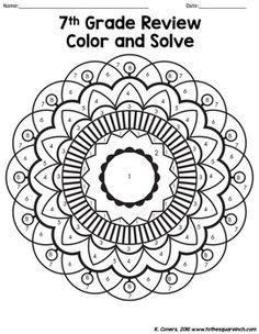 7th Grade Math Review Color and Solve by To the Square Inch- Kate Bing Coners   Teachers Pay Teachers