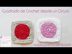 Crochet Square From Circle Love Crochet, Crochet Granny, Crochet Stitches, Knit Crochet, Crochet Hats, Granny Square Poncho, Crochet Videos, Cross Stitch, Knitting