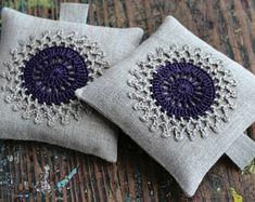 Set bolsitas lavanda--crochet adorno--2