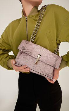 Orchid Python Margaux Shoulder Bag by HAYWARD for Preorder on Moda Operandi