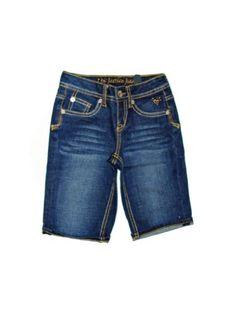 Girls Denim Whisker Bermuda Shorts, Dark Wash