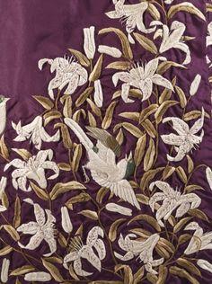 Detail, 1885 dressing gown of silk plain weave (faille) w/ astonishing silk embroidery & tasseled belt, c. 1885. Made in Yokohama, Japan (for the Western market) @LACMA