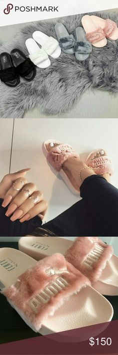 FENTY PUMA SLIDES - PINK Worn maximum 2-3 times so these are essentially brand new. Can fit a size 8.   100% authentic!  Cheaper through PayPa l and Mercar-i.   *Rude/annoying comments will get you BLOCKED*  NO TRADES.   Bundle with other cute items from my closet or make an offer:) Puma Shoes Slippers