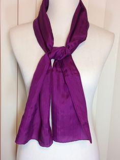 Vintage Long Dark Purple Scarf with Hand Rolled Hem by Oldtonewjewels on Etsy
