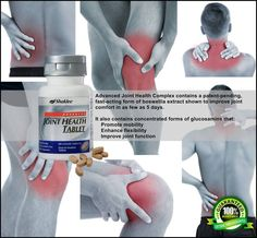 Joint Comfort in as Few as 5 Days† Advanced Joint Health Complex* contains a patent-pending, fast-acting form of boswellia extract that has been shown to have superior bioactivity compared to another boswellia extract in the market today. In a clinical study, it was shown to improve joint comfort in as few as five days.