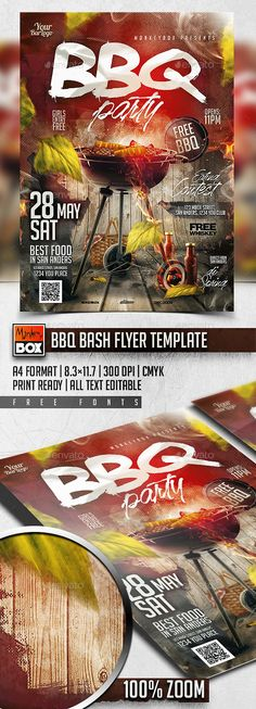 BBQ Bash Flyer Template. Print-templates Flyers Events. To make this pin discoverable bar, barbecue, bbq, beach party, club, cookout, food, foods, fourth of july, green, grill, holiday party, hot, ivy, leaf, modern, monkeybox, outside, park, patio party, pub, restaurant, Spring Party, summer, sun, and wood.