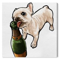 Oliver Gal Frenchie And Bubbly Canvas Art - 20877_43X43_CANV_XXHD