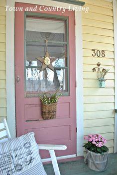 Farmhouse Front Door - Choosing exterior paint colors for farmhouse