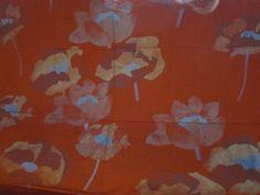 Marimekko OYJ SUOMI Finland Fujiwo Ishimoto 2000 Hurmio orange fabric 58 x 51.5  | eBay