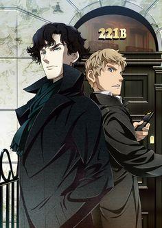 sherlockandjohninlove:  thetangles:   artist | image | beneath the tangles  Anime Sherlock, anyone?  I WOULD WATCH THE HELL OUT OF THIS