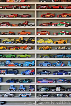 Keep your little speedster's favorite Hot Wheels cars organized and ready for hours of play with this simple DIY storage solution that's perfect for his bedroom or playroom.
