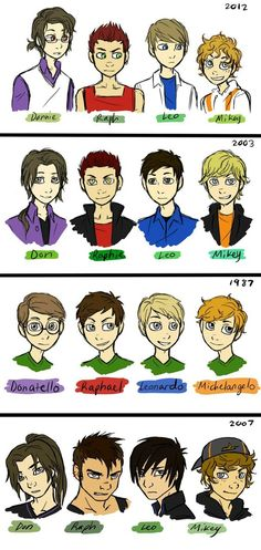 I have an interest in humanized character, you realize this. I think some of these are pretty good. 2012 Mikey looks like a Hobbit =D And 2012 Donnie reminds me of Dr. Bruce Banner: