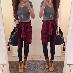 Easy outfits, cute outfits with flannels, crop top outfits, tims outfits,. Tims Outfits, Cute Flannel Outfits, Crop Top Outfits, Casual Outfits, Outfit With Timberlands, Converse Outfits, Girly Outfits, Office Outfits, Plaid Flannel