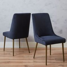 Dimensions:50W x 96H x 64D The ShadowVelvet Dining Chair is a wonderful combination of lasting quality and designer style. Made with a solid wood frame with steel legs in a matt brass finish. Upholstered in a smoke bluevelvet. Designed with comfort in mind, this chair is as comfortable as it is eye-catching, perfect for enjoying a long evening of dining or a lazy Sunday brunch. Exclusive to Meadows & Byrne Set of 2 Colour - Smoke Blue Velvet Solid wood frame Lazy Sunday, Sunday Brunch, Dining Chair Set, Dining Area, Blue Velvet, Solid Wood, Brass, Smoke, Colour