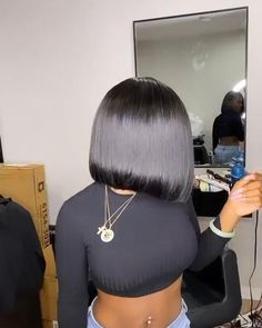 Hair Ponytail Styles, Curly Hair Styles, Natural Hair Styles, Bob On Natural Hair, Natural Hair Weaves, Quick Weave Hairstyles, Straight Hairstyles, Sew In Bob Hairstyles, Black Hairstyles With Weave
