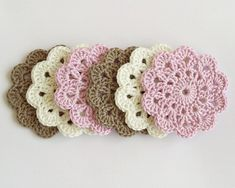 Crochet coasters, drink coasters in pastel colors, pink brown home decor, baby room decor, table dec Baby Room Colors, Baby Room Decor, Cotton Crochet, Hand Crochet, Brown Home Decor, Wedding Thank You Gifts, Custom Coasters, Drink Coasters, Pink Brown